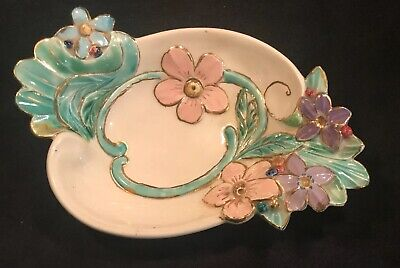 VIntage Holland Mold Ceramic Footed Bowl Dish Tropical Colors Floral 10""