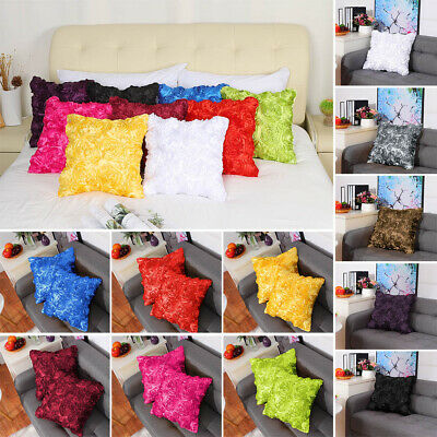 Decorative 3D Satin Floral Rose Flower Throw Pillow Cover Shell Cases Couch Sofa