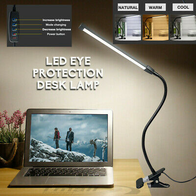 Clip On LED Desk Table Lamp USB Dimmable Switch Eye Care Reading Light Clamp-HOT