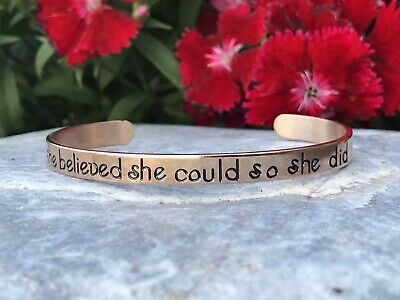 SHE BELIEVED SHE COULD SO SHE DID Stainless Steel Rose Gold Bracelet