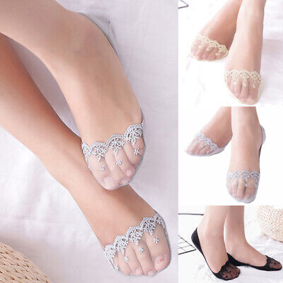 2 Pairs Women Invisible Lace Boat Socks Anti-slip Low Cut Cotton Socks Summer