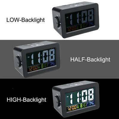 LED Digital Electronic Snooze Alarm Clock Backlight Time Humidity Thermometer US
