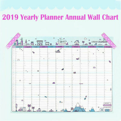 2019 Yearly Planner Annual Wall Chart Year Planner Calendar✔HOME✔OFFICE