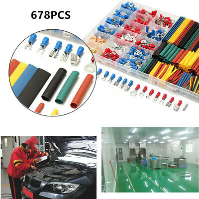 678Pcs Cable Crimp Set 350 Ring Terminals Connectors + 328 2:1 Heat Shrink Tube