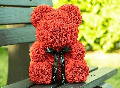 Rose Flower Bear - Fully Assembled 16 inch  Teddy Bear rose