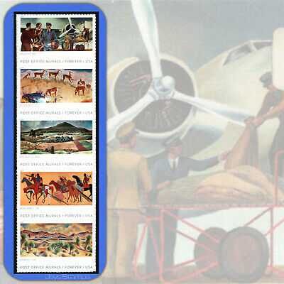 2019 POST OFFICE MURALS Strip of 5  Forever® Stamps in Cat order #5372-76  5376a