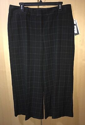 Style & Co Women's Crop Capri Culotte Midrise Black Plaid Pants Stretch Size 14