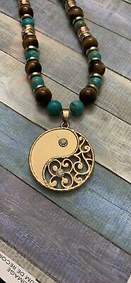 Handcrafted Gold Yin Yang Tigers Eye And Jasper Necklace Set