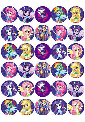 30 MY LITTLE PONY Cupcake Toppers Edible Wafer Paper Birthday Cake