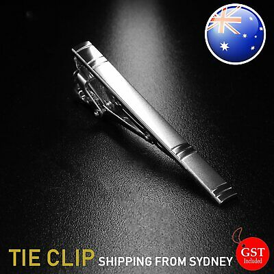 Style Tie Clip Pin Men Silver Stainless Steel Fashion Clasp Bar Office Wedding