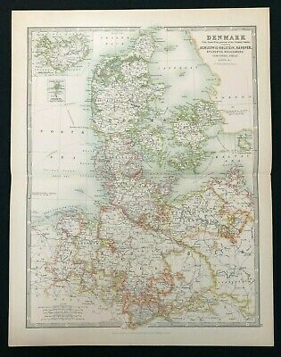 1893 Antique Victorian Atlas Map, DENMARK & N.W. GERMAN EMPIRE Handy Royal Atlas