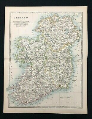 1893 Antique Victorian Atlas Map, IRELAND, Handy Royal Atlas