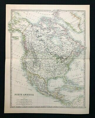 1893 Antique Victorian Atlas Map, NORTH AMERICA, Handy Royal Atlas