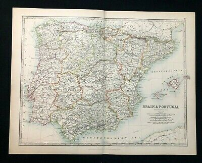 1893 Antique Victorian Atlas Map, SPAIN & PORTUGAL, Handy Royal Atlas