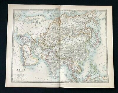 1893 Antique Victorian Atlas Map, ASIA, Handy Royal Atlas