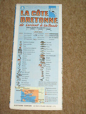 France, vintage map-guide of the S Brittany coast - Carnac & Vannes area