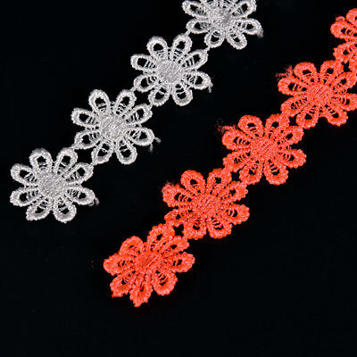 1yard DIY embroidered daisy flower applique costume decor lace sewing trim~craft