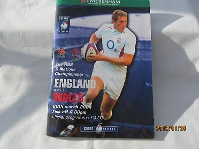 England v Wales. Rugby Union. March 2004. Programme + Event Tickets.