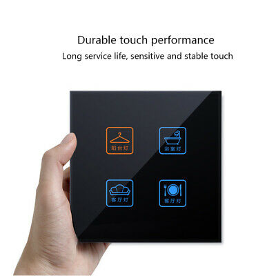 Black Smart Light Wall Touch Switch Glass Panel Single/Dual Control 1/2/3/4Gang