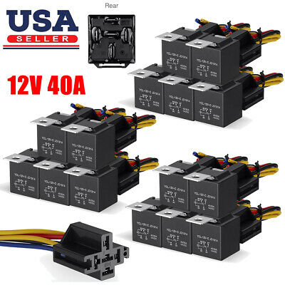 5-20Pcs 12V 30/40 Amp 5-Pin Car SPDT Automotive Relay + Wires Harness Socket Set