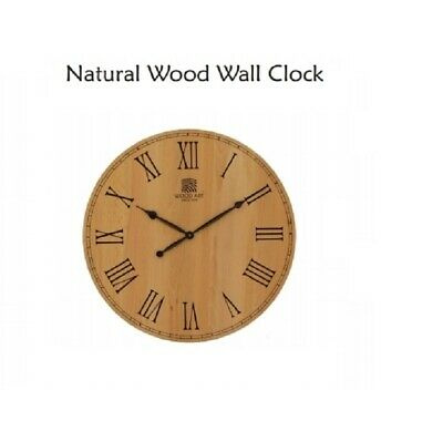 40cm Wooden Wall Clock, Roman Numeral Design Rustic Country Tuscan Vintage