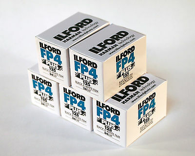 Ilford FP4 Plus 35mm 125 ISO Black & White Camera Film 24 exposure - PACK OF 5