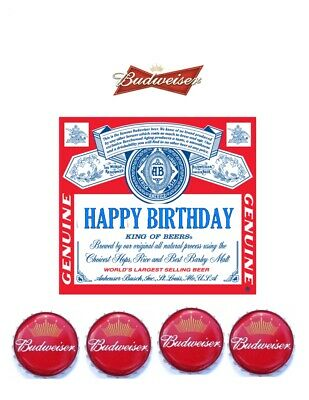 A4 Bottle Label Beer Budweiser Personalised Edible Fondant Wafer Cake Topper