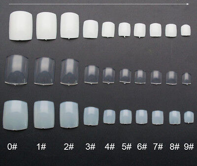 100 False Toe Nails Nail Full Coverage Tips 10 Sizes Clear Natural Extensions