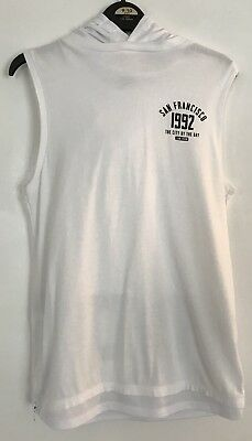 Boys River Island White San Francisco 1992 Hooded Vest Top Age 9-10 Years
