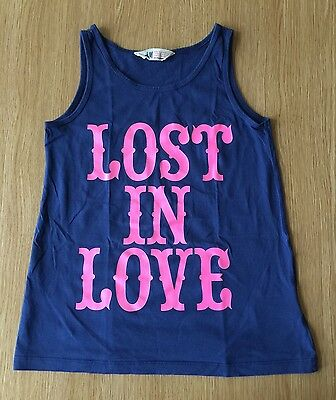 Girls H&M Lost In Love Super Cool Vest Top Aged 10-12 Years Navy And Pink