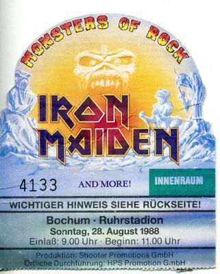 USED TICKETS Iron Maiden  N°4133 CONCERT 1988 and more ! ALLEMAGNE