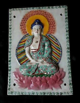LARGE ANTIQUE TIBETAN GLAZED CERAMIC TILE BUDDHA SEATED ON LOTUS LATE 19th A.D.