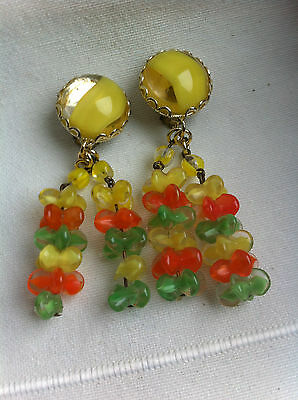 Ancien Bijou - Boucles d'Oreilles en perles - CLIPS - Old Earrings Glass Beads