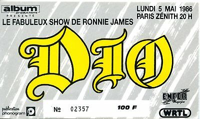 2 Used Tickets Dio  N°00634 Concert 1984 / 1986  Ronnie James Paris  France