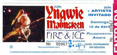 Used Ticket San Sebastian Yngwie Mainsteen N°00967 Concert 198? Fire And Ice