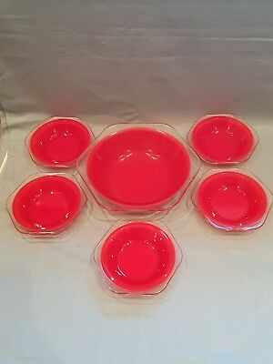 Lovely Vintage/Rare 1950s Glass Pyrex Pheonix Dessert/Trifle Set-6 Pieces-Red-GC