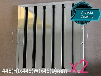 2xLOBO Heavy Duty Stainless Steel Canopy Extraction Grease Baffle Filter 445x445
