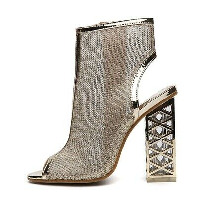 New Sexy Gold Gladiator Sandals Peep Toe Zip Shoes Clear Chunky High Heels New