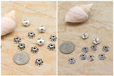 Antique Silver tone Crafted round Flower Bead Caps 10x3mm or  9x2.5mm