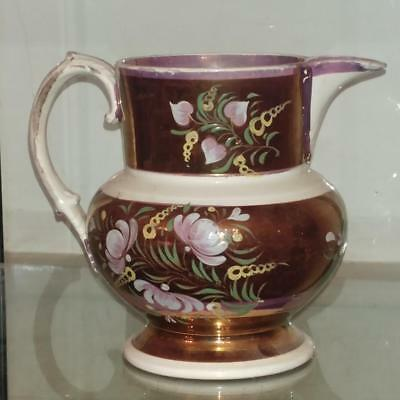 Beautiful Antique Copper & Sunderland Lustreware Large Ornate Milk Jug C 1840+