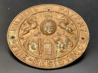 Antique Milners' 212 Patent Fire Resisting Plaque for Safe