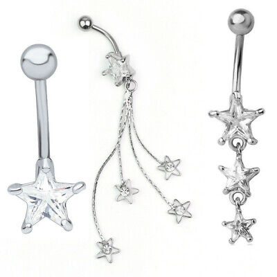 Womens Heart Rhinestone Dangle Barbell Belly Button Navel Ring Bar