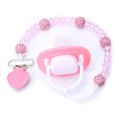 Crystal Baby Kids Plastic Beaded Pacifier Clip Teether Dummy Strap Chain FG