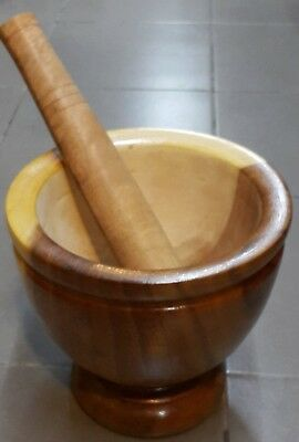 Thai 10'' inch Wooden Pestle & Mortar - Hand Made From Thai Rainwood Natural