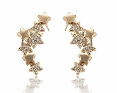 18ct Gold Filled 7-Star Cubic Zirconia Climber Earrings