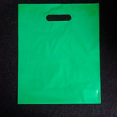 100 Green Patch Handle Carrier Gift Retail Shopping Plastic Bags for Retail shop