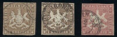 GERMAN STATES WURTTEMBERG #7,13,17, Used, 3 better values, VF, Scott $260.00