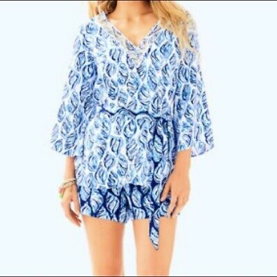 SHORTS 4 8 $238 New Lilly Pulitzer KAILEN SET White Drop In Blue Navy TUNIC
