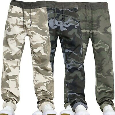 Boys Kids Camo Jeans Stretch Ribbed Denim Pull On Pants Trousers Age 7-15 Years