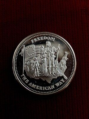 1986 Johnson Matthey Freedom The American Way 1oz .999 Fine Silver Round